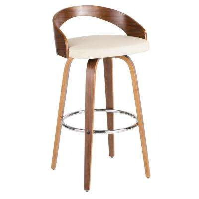 Grotto 30 in. Walnut Wood and Cream Faux Leather Bar Stool