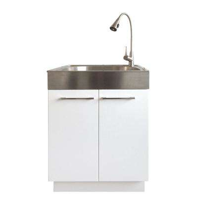 All-in-One 24.2 in. x 21.3 in. x 33.8 in. Stainless Steel Laundry Sink and White 2 Door Cabinet