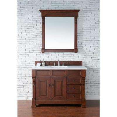 Brookfield 48 in. W Single Bath Vanity in Warm Cherry with Quartz Vanity Top in Classic White with White Basin