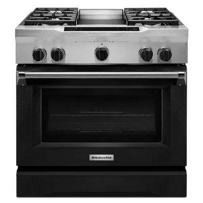 36 in. 5.1 cu. ft. Dual Fuel Range with Convection Oven in Imperial Black
