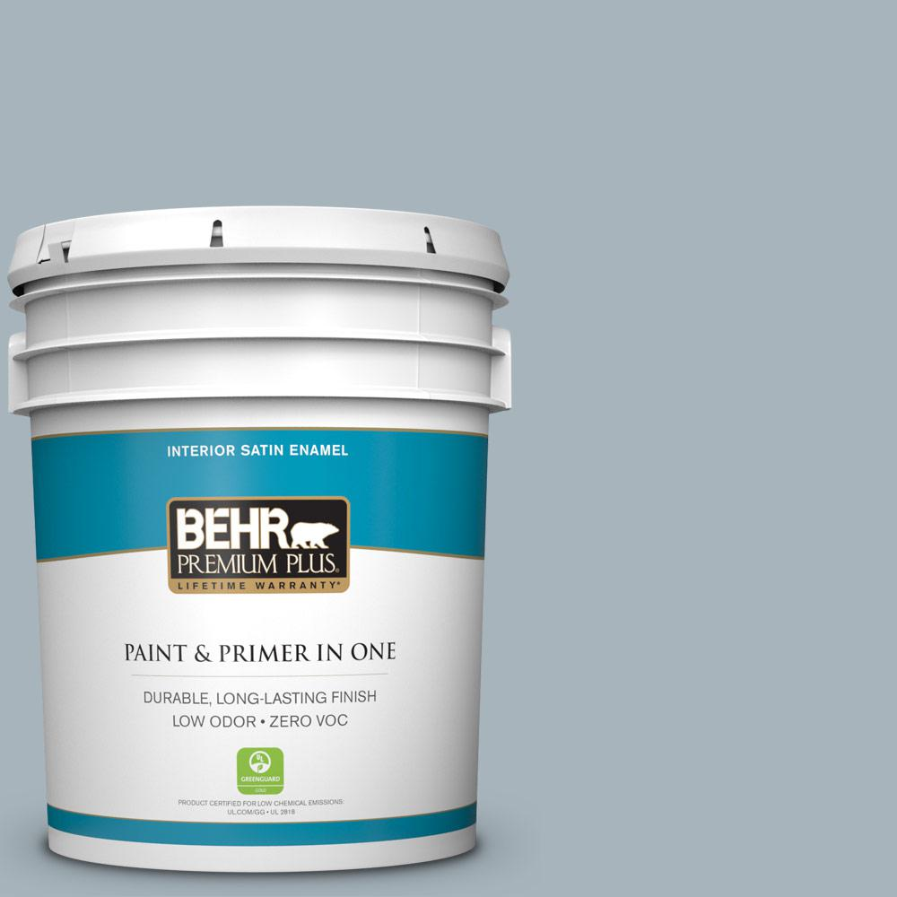 BEHR Premium Plus 5-gal. #N490-3 Shaved Ice Satin Enamel Interior Paint