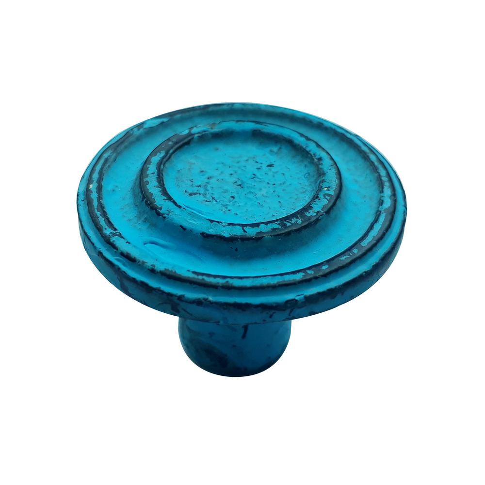 Mascot Hardware Ringed 1-1/2 in. (38 mm) Distressed Blue Patina Cabinet Knob