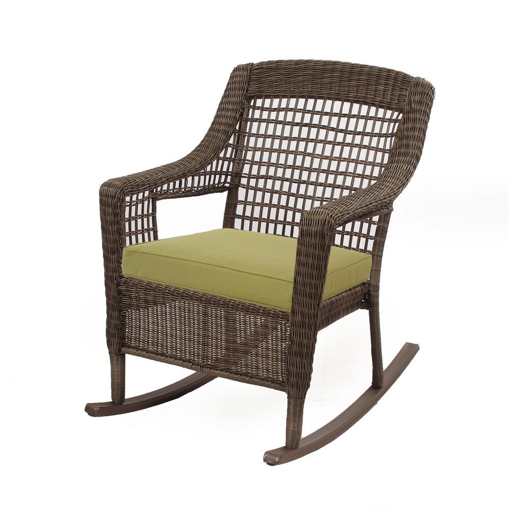 Brilliant Hampton Bay Spring Haven 19 5 X 19 5 Outdoor Rocking Chair Cushion In Standard Green Lamtechconsult Wood Chair Design Ideas Lamtechconsultcom