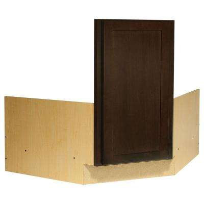 Shaker Ready to Assemble 36 x 34.5 x 24 in. Corner Sink Base Kitchen Cabinet in Java