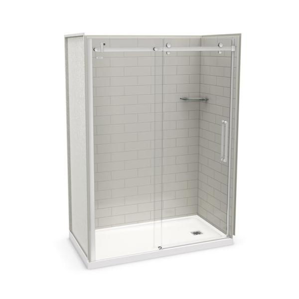 Utile Metro 32 in. x 60 in. x 83.5 in. Right Drain Alcove Shower Kit in Soft Grey with Chrome Shower Door