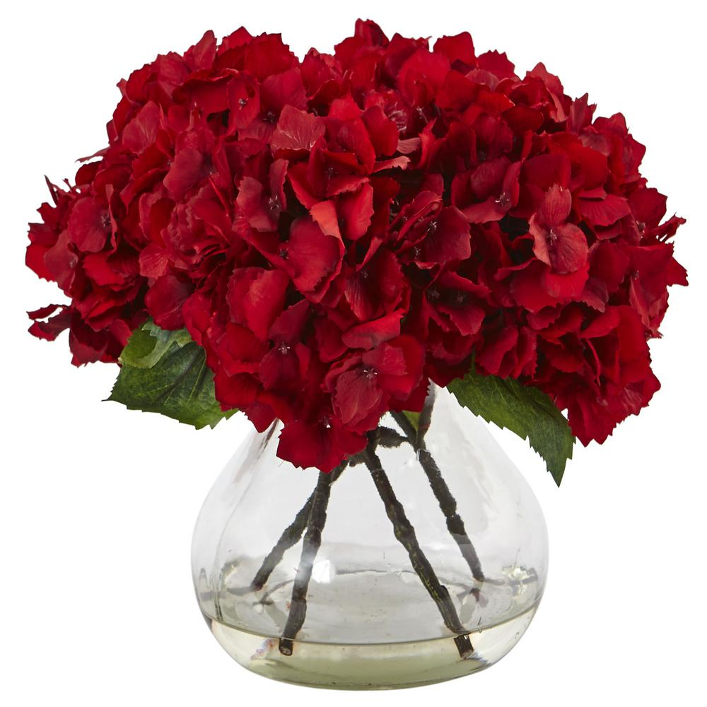 Nearly Natural Red Hydrangea With Vase Silk Flower Arrangement