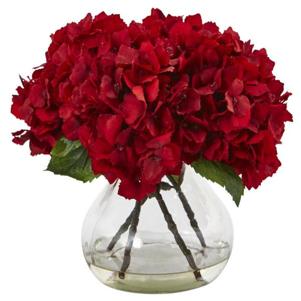 Nearly Natural Red Hydrangea With Vase Silk Flower