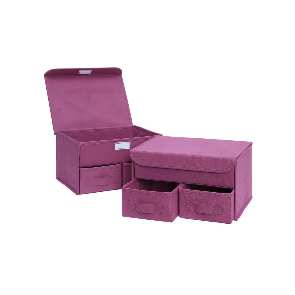 10 in. x 13 in. Pink Storage Bin (2-Pack)