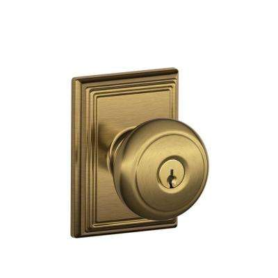Andover Antique Brass Keyed Entry Door Knob With Addison Trim