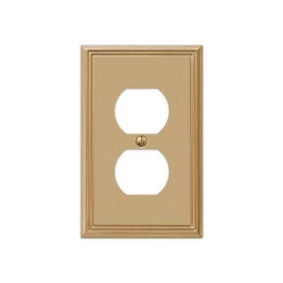 Rhodes 1 Duplex Wall Plate - Brushed Bronze Cast