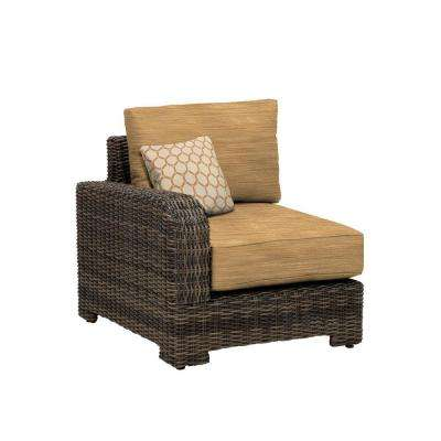Northshore Left Arm Patio Sectional Chair with Toffee Cushion and Tessa Barley Throw Pillow -- CUSTOM