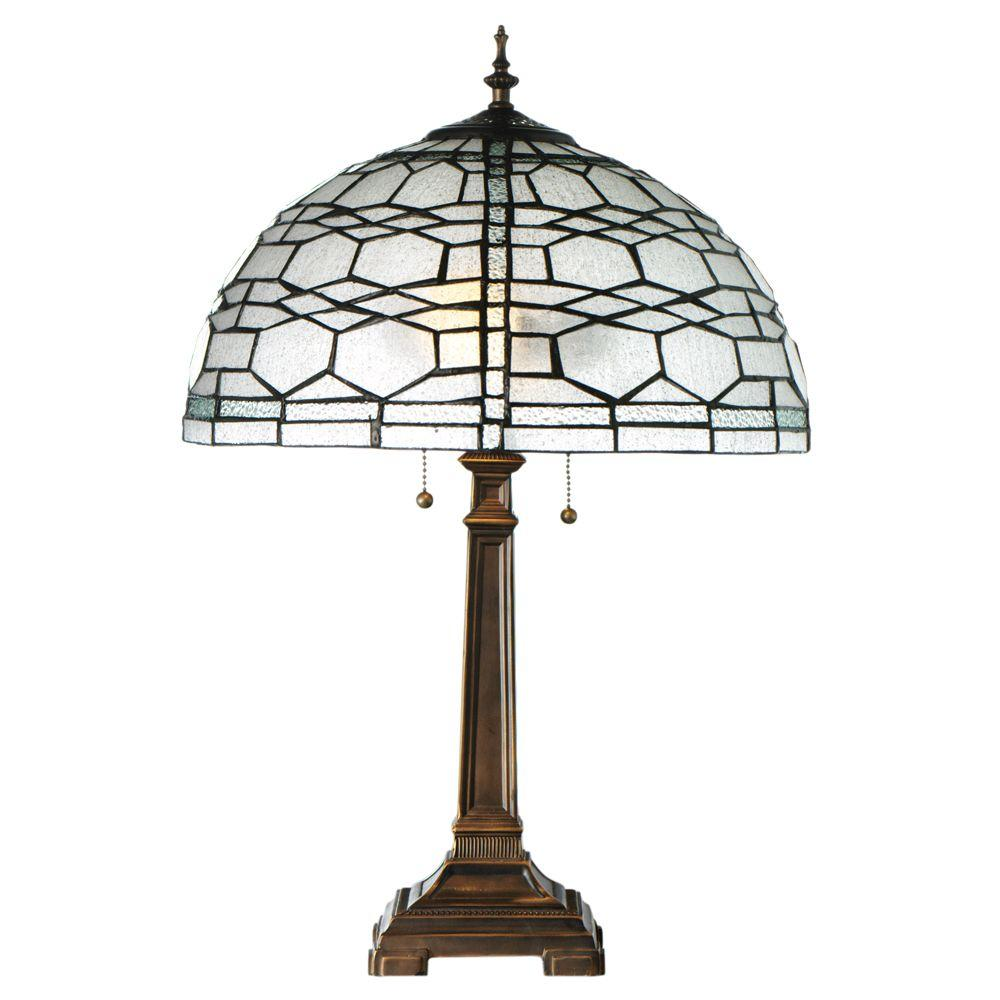 Home Decorators Collection Haverford 23 in. Clear and Bronze Table Lamp