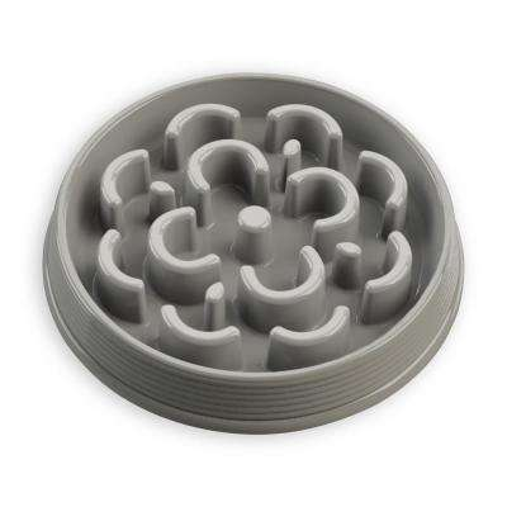 Slow Chow Medallion Medium Feeder in Grey