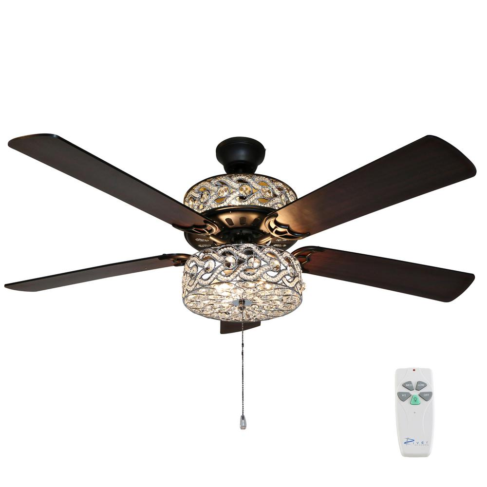 River of Goods Gracie Grand 52 in. Oil Rubbed Bronze Double-Lit Ceiling Fan with Light and Remote