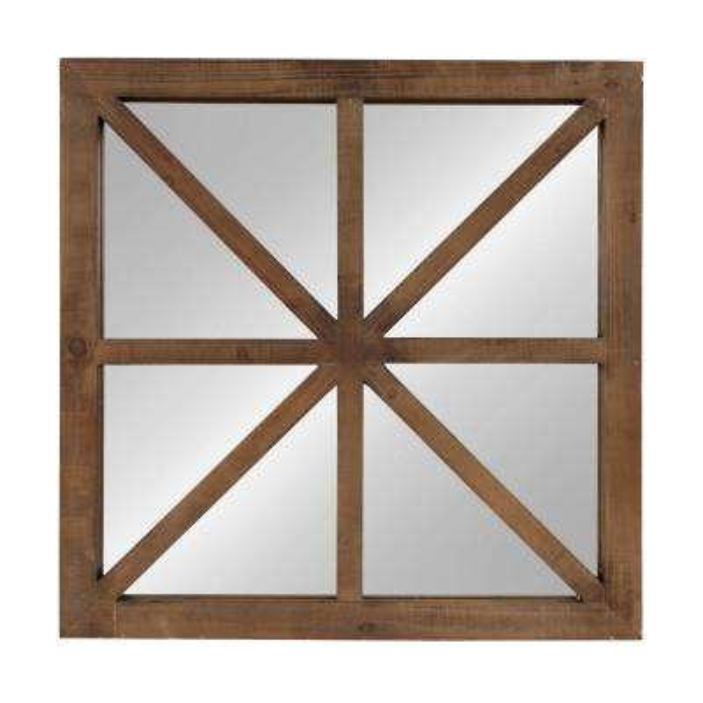 Mace Square Rustic Brown Accent Mirror