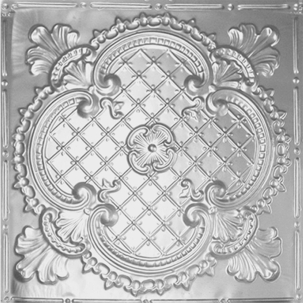 Shanko 2 Ft. X 2 Ft. Lay-in Suspended Grid Tin Ceiling Tile In Clear Lacquer (24 Sq. /