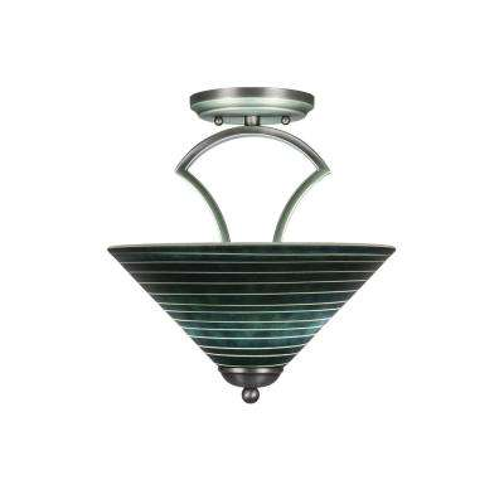 2-Light Graphite Semi-Flushmount