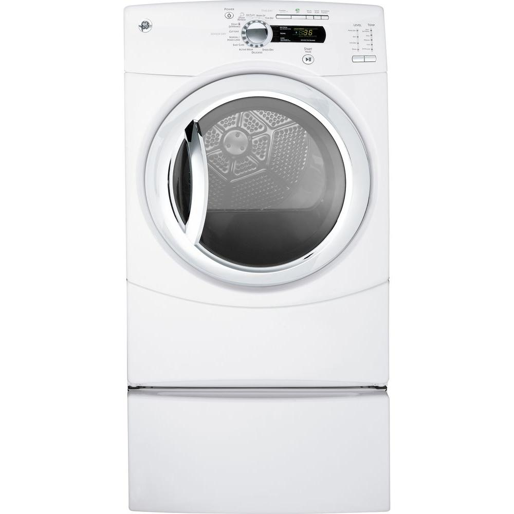 GE 7.5 cu. ft. Electric Dryer with Steam in White (Pedestal Sold Separately)