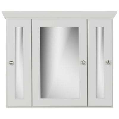 30 in. W x 27 in. H x 6.5 in. D Tri-View Surface-Mount Medicine Cabinet Rounded/Mirror in Dewy Morning