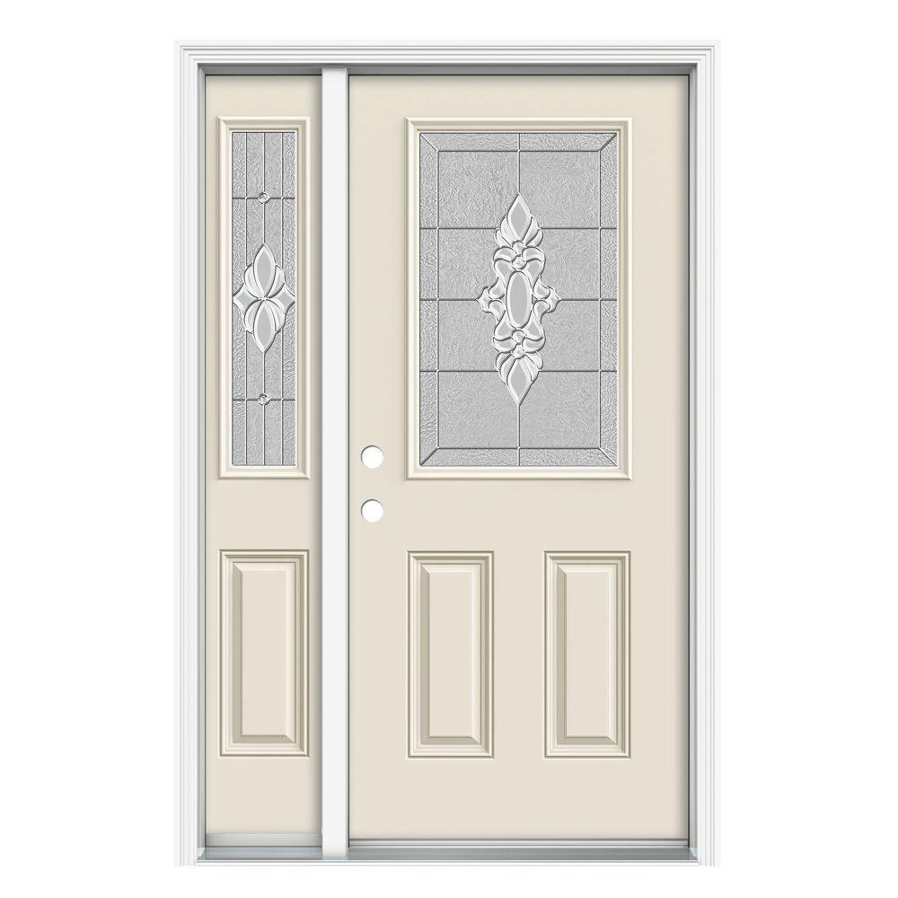 50 in. x 80 in. 1/2 Lite Langford Primed Steel Prehung Right-Hand Inswing Front Door with Left-Hand Sidelite