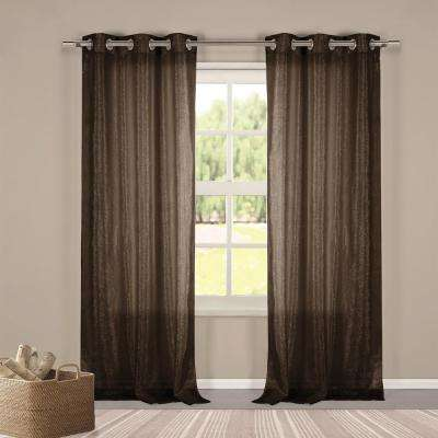 Metallico 40 in. W x 84 in. L Polyester Window Panel in Chocolate
