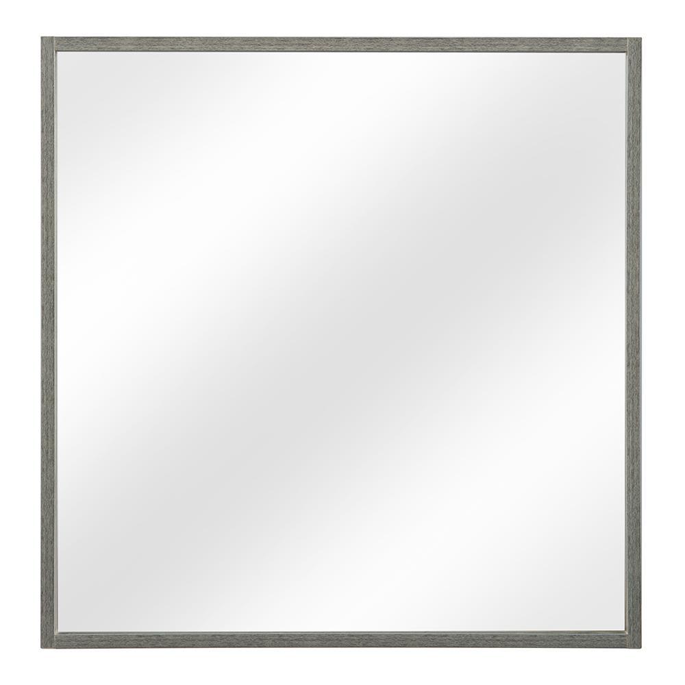 Carolo 32 in. W x 32 in. H Framed Wall Mirror in Grey Oak