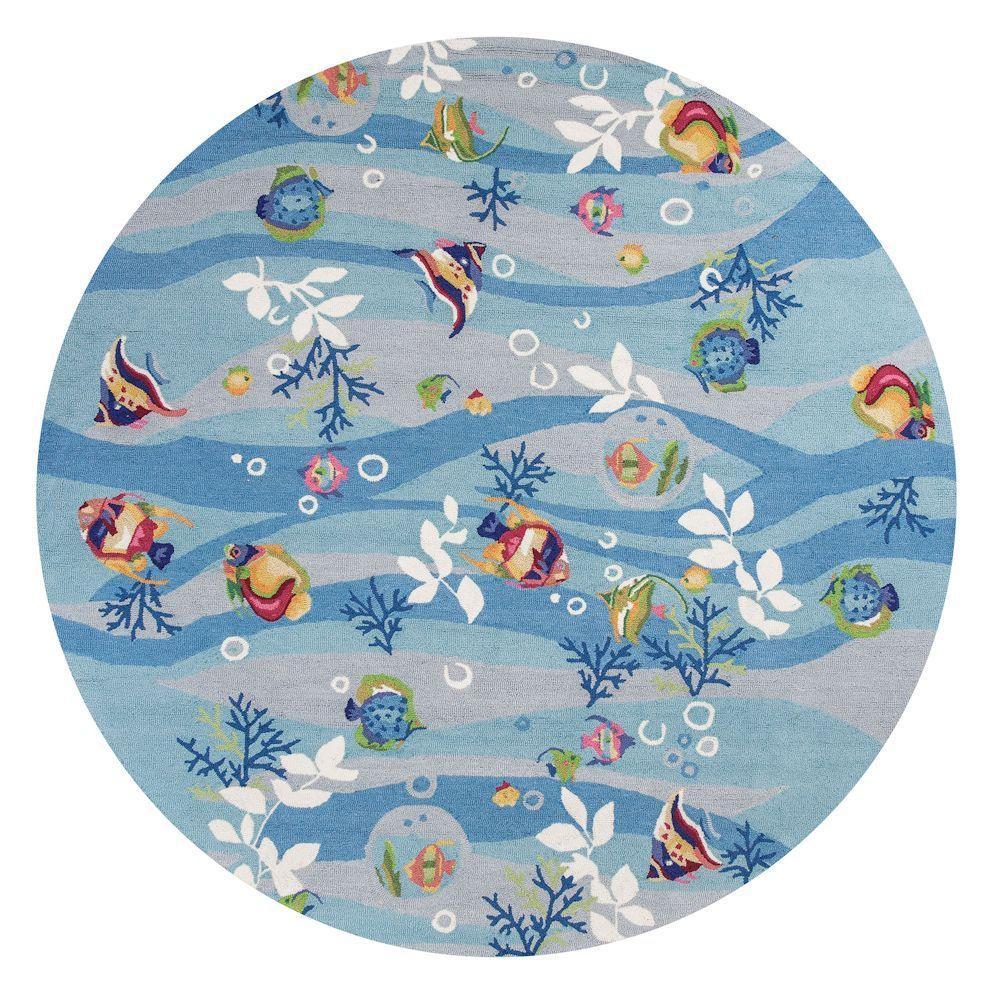 Kas Rugs Ocean Reef Blue 8 Ft. X 8 Ft. Round Area Rug