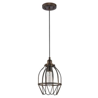 Loft 1-Light Oil-Rubbed Bronze Pendant with Wire Shade