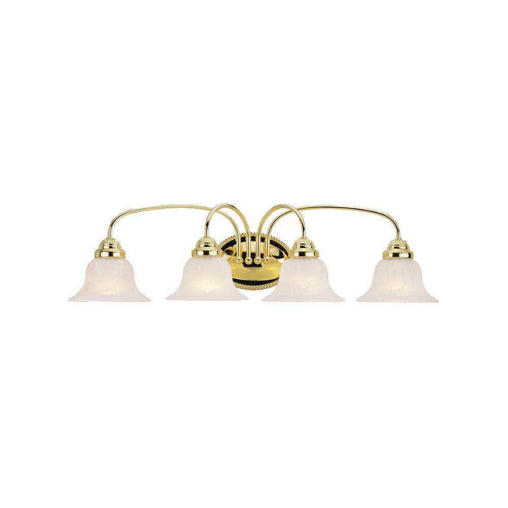 4-Light Polished Brass Bath Light with White Alabaster Glass