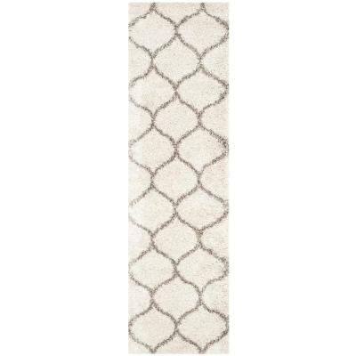 Hudson Shag Ivory/Gray 2 ft. 3 in. x 16 ft. Runner Rug