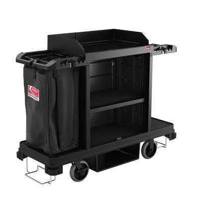 Housekeeping Plastic Cleaning Cart With Laundry And Tool Storage