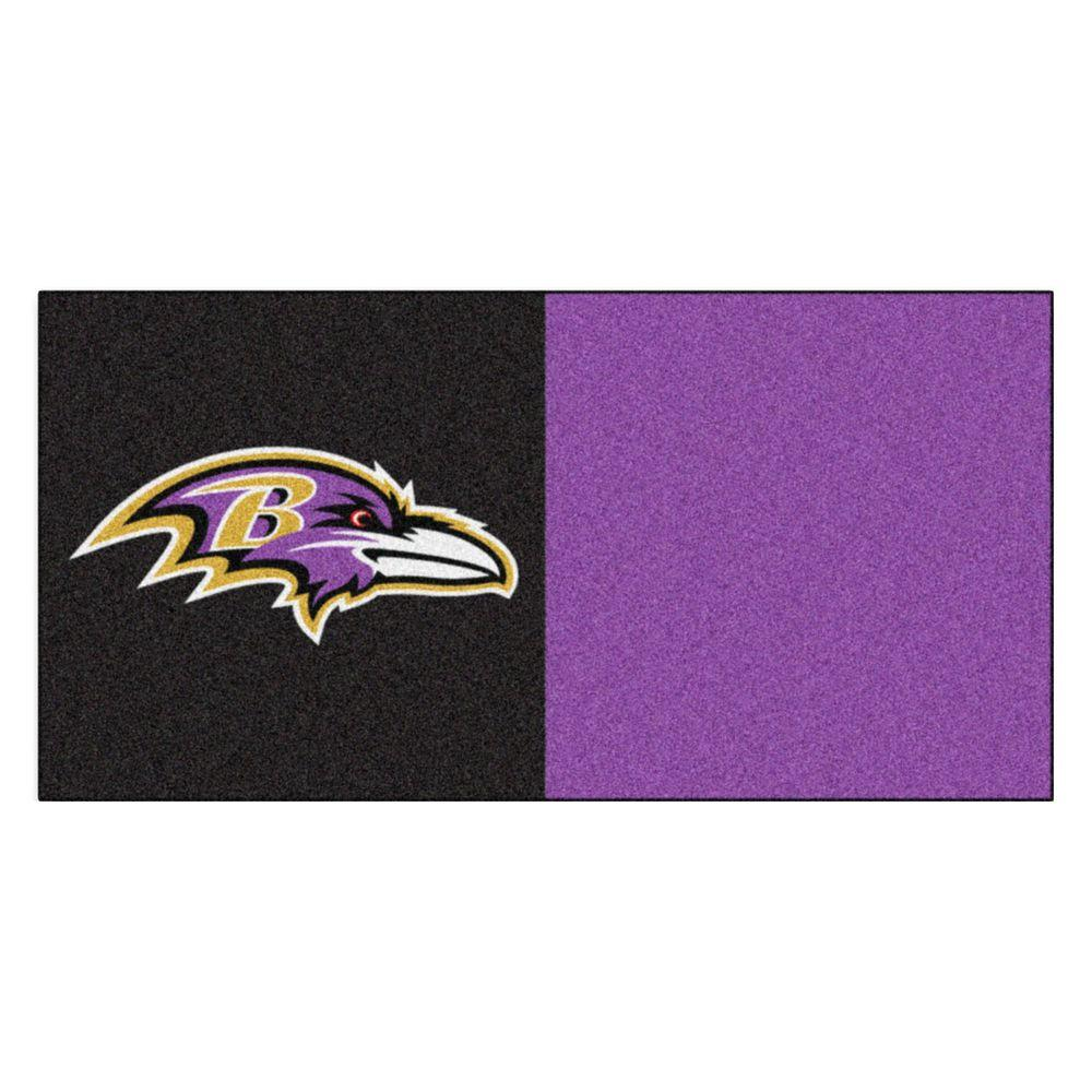 4cccbc1843d NFL - Baltimore Ravens Black and Purple Nylon 18 in. x 18 in. Carpet Tile  (20 Tiles/Case)
