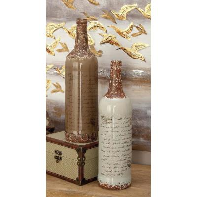 18 in. Inscription Ceramic Decorative Vase in Taupe and White (Set of 2)