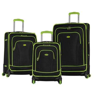 Santa Fe 3-Piece Black/Lime Expandable EVA Spinner Set