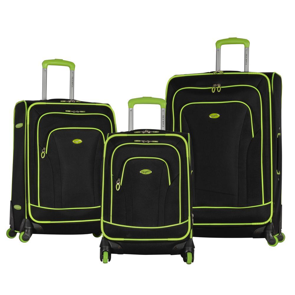 Santa Fe 3-Piece Black/Lime Expandable EVA Spinner Set