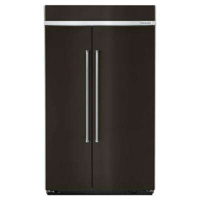 48 in. W 30 cu. ft. Built-In Side by Side Refrigerator in Black Stainless