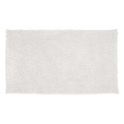 Plush Shag Chenille White 17 in. x 24 in. Bath Rug