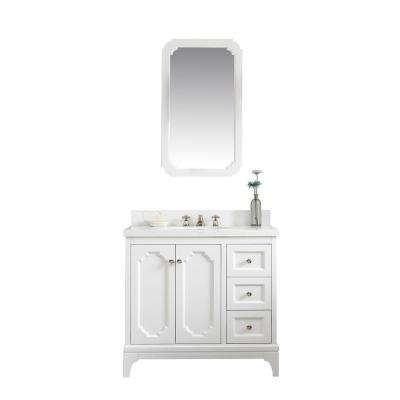 Queen 36 in. Bath Vanity in Pure White with Quartz Carrara Vanity Top with Ceramics White Basins and Mirror