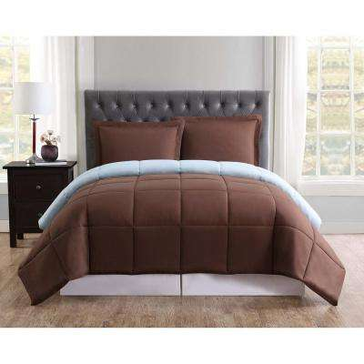 Everyday Reversible Comforter Set 3-Piece Chocolate and Light Blue Full and Queen Comforter with 2 Shams