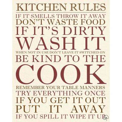 11 in. x 14 in. Kitchen Rules Barnwood Framed Wall Art Print