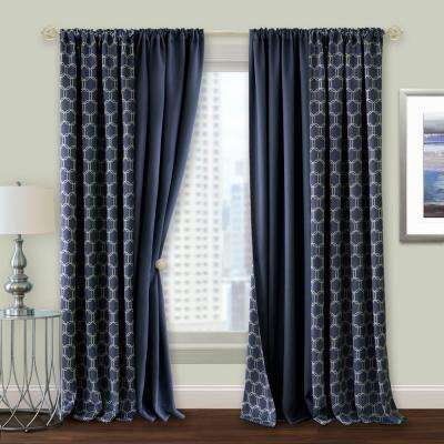 Prelude 50 in. W x 63 in. L Reversible Blackout Rod Pocket Curtain Panel in Navy