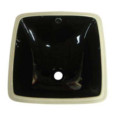Vista Vitreous China Undermount Bathroom Sink with Overflow Drain in Black with Overflow Drain