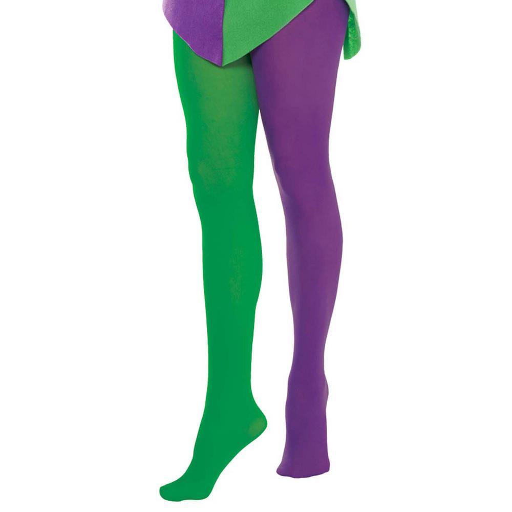 Purple and Green Nylon Mardi Gras Adult Tights (2-Pack)