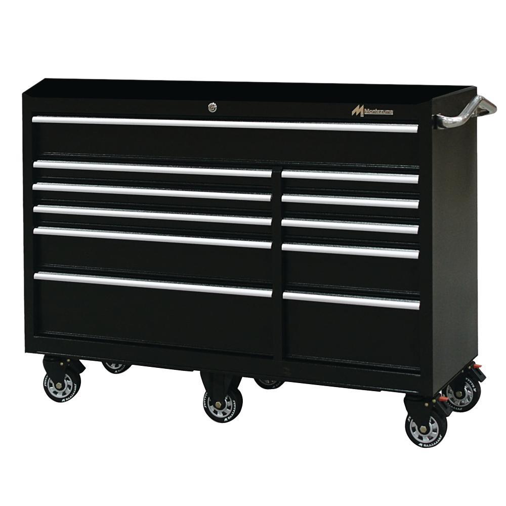 2aab10adfb6 Montezuma 56 in. 11-Drawer Tool Box in Black-BK5611TC - The Home Depot