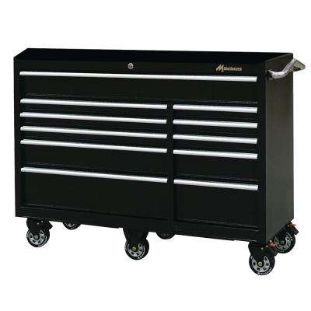 56 in. 11-Drawer Tool Box in Black
