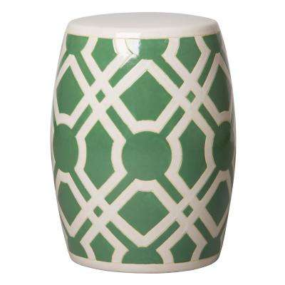 Labyrinth Meadow Green and White Ceramic Garden Stool