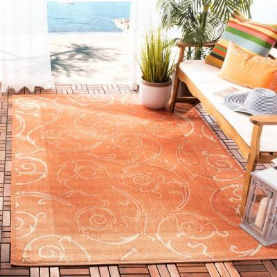Courtyard Terracotta/Natural 8 ft. x 8 ft. Indoor/Outdoor Square Area Rug