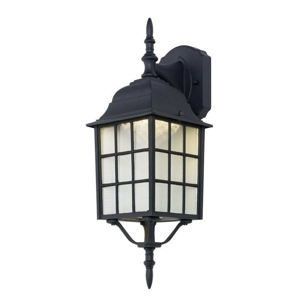 hampton bay black outdoor led wall lantern 4420 1bk led the home depot