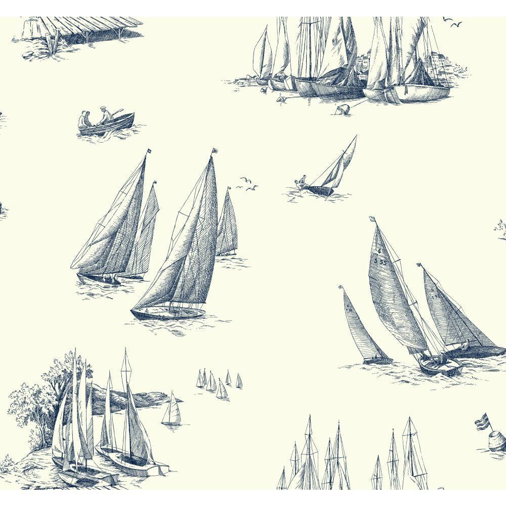 York Wallcoverings Nautical Living Sailboat Toile
