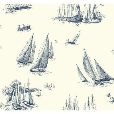 Nautical Living Sailboat Toile Wallpaper
